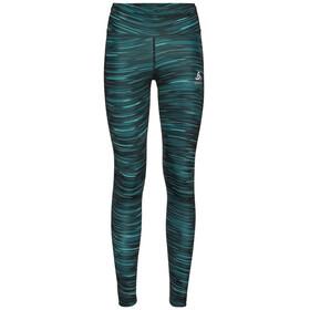 Odlo Zeroweight Print Reflective Pantaloni Donna, nero/verde